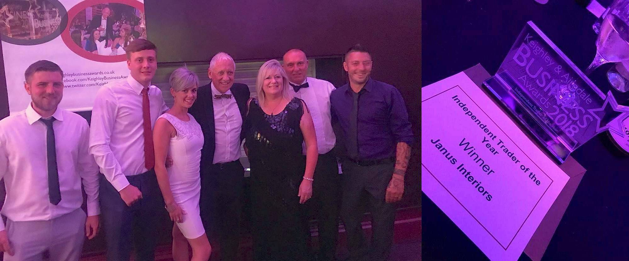 Janus Interiors win best independent trader 2018 at Keighley Business Awards