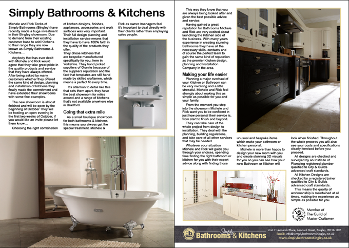 New kitchen Showroom Bingley Hub article September 2012