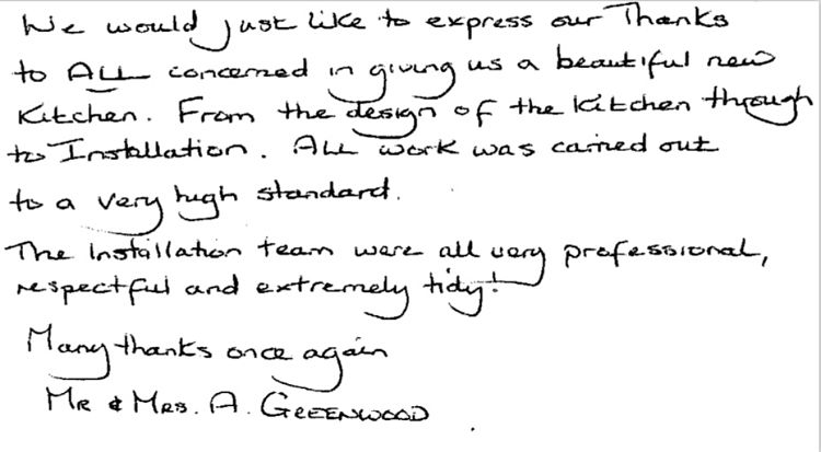 review by Mr & Mrs Greenwood... beautiful new kitchen