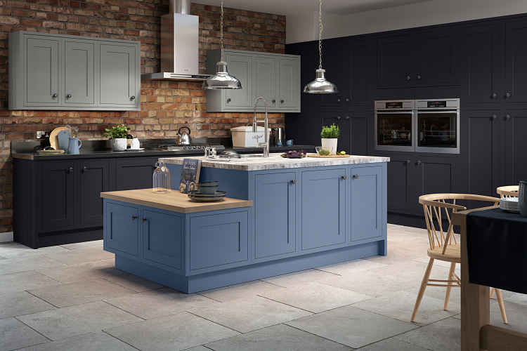 PlannSheraton Kitchens - The Sheraton Harmony in Indigo blue and sky slate
