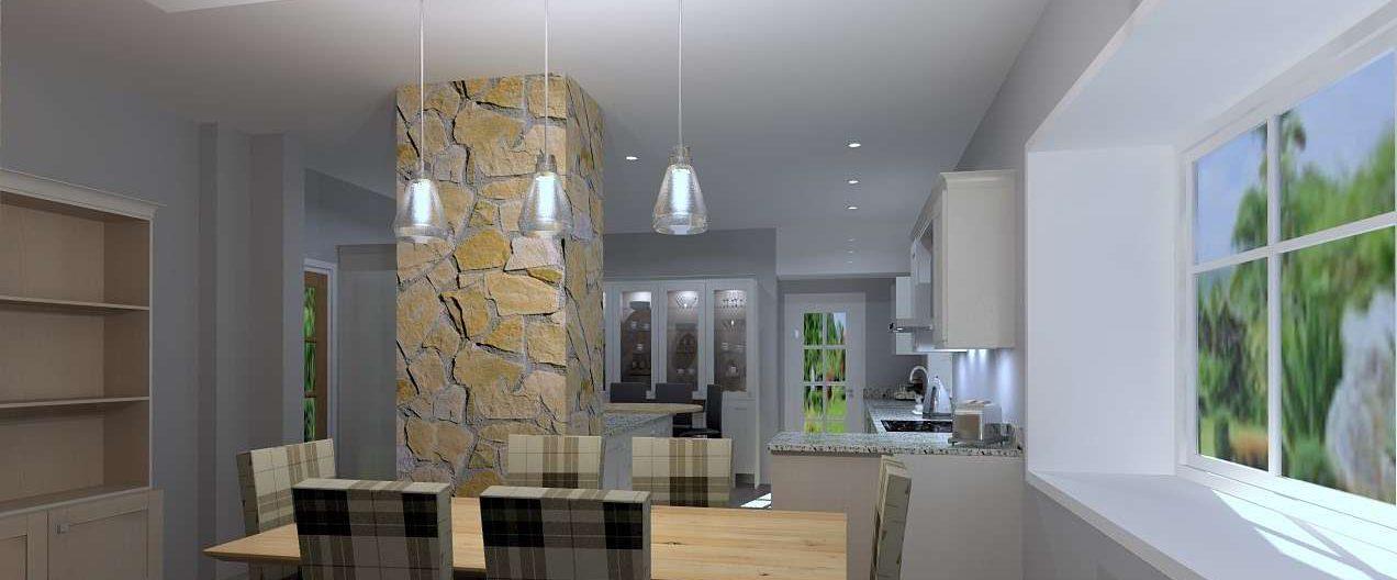 free computer generated 3D bespoke kitchen design at Janus Interiors Bingley