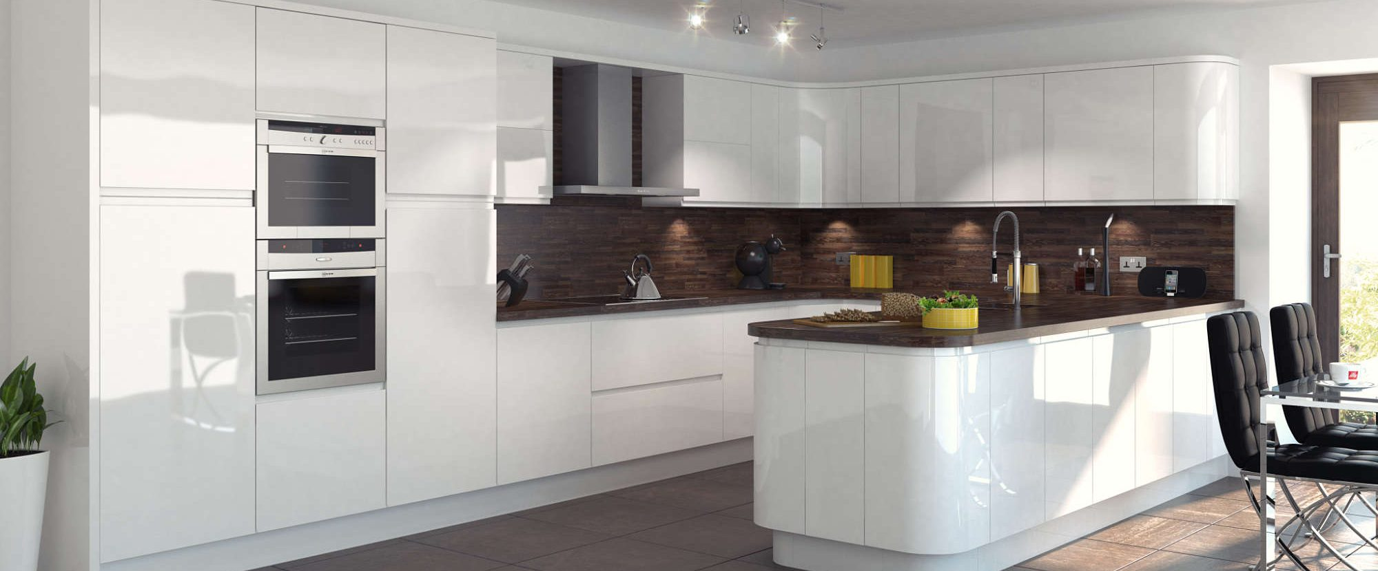 gloss white inline kitchen