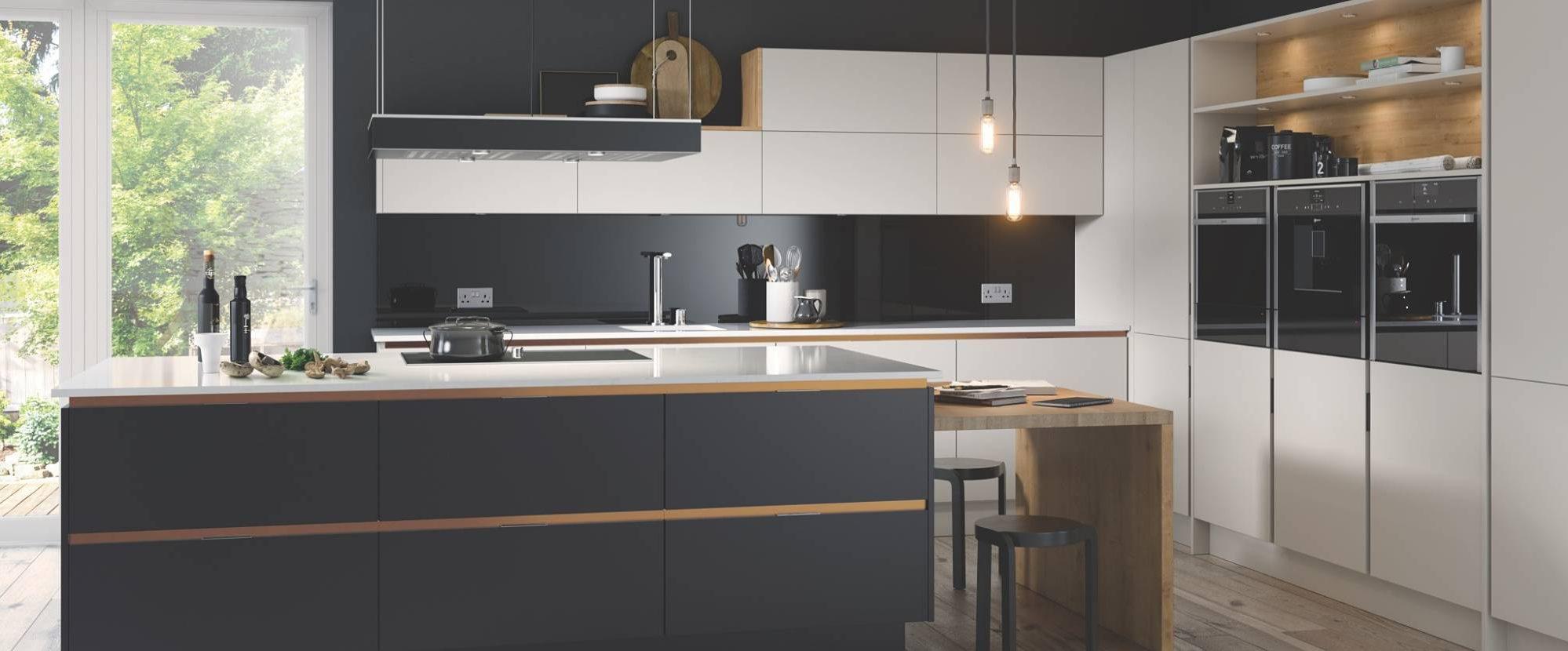 Inset Setosa Anthracite and Limestone Copper Trim Contemporary Kitchen