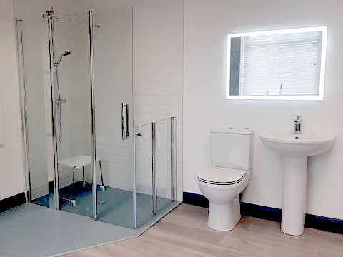 wet-room in accessible bathroom
