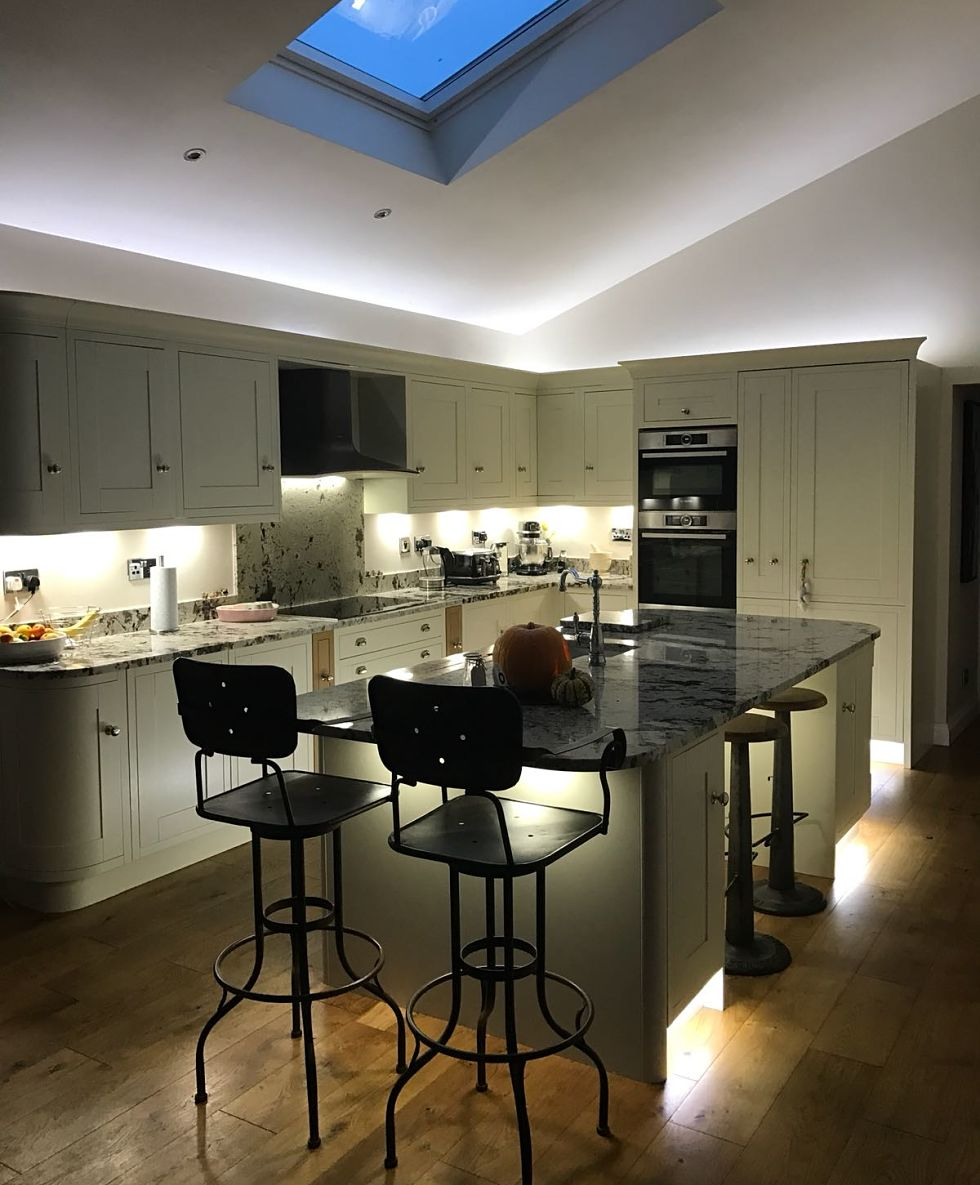 lighting adds another wow factor to this stunning kitchen