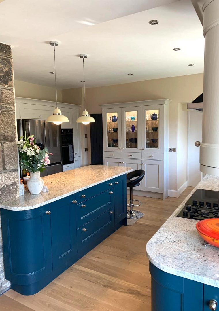oxford blue island kitchen installed at Bingley Yorkshire