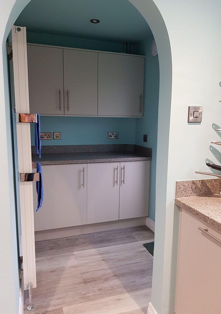 The new utility room with matching kitchen units