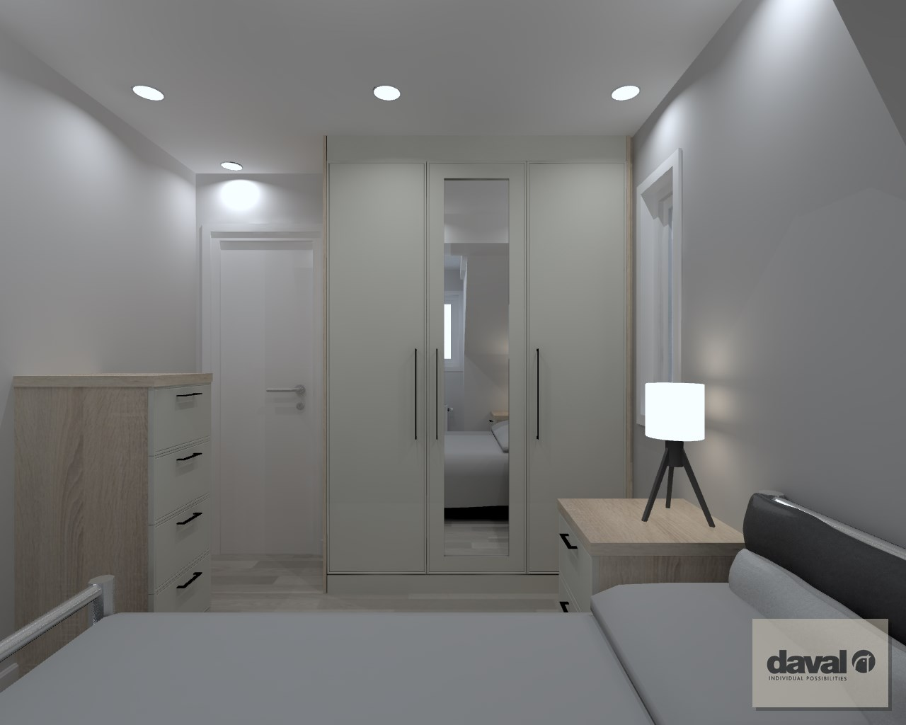 3D design of older boys bedroom with Daval Solo furniture