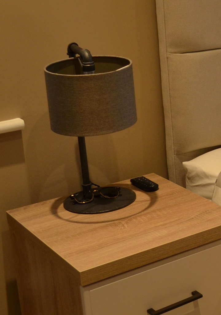 bedside drawer unit with lamp