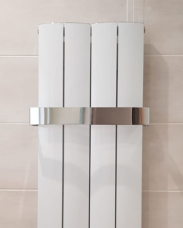 Close up of designer radiator in Bathroom at Eldwick near Bingley