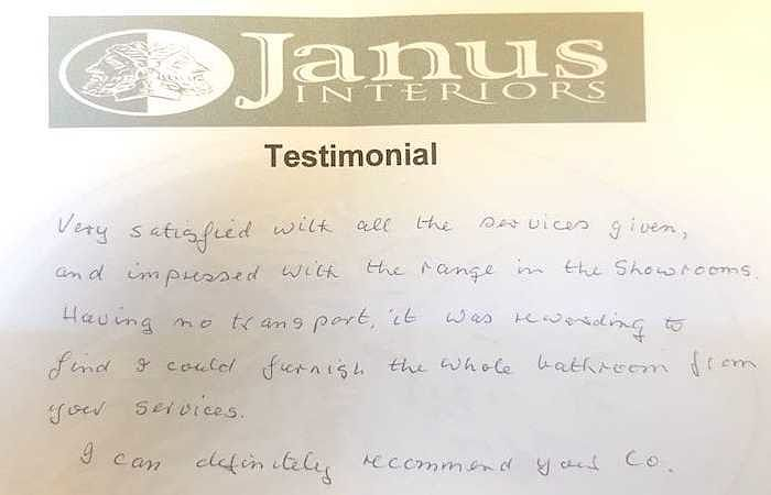 Janus Interiors are recommended bathroom fitters & supplier - read the customer testimonial