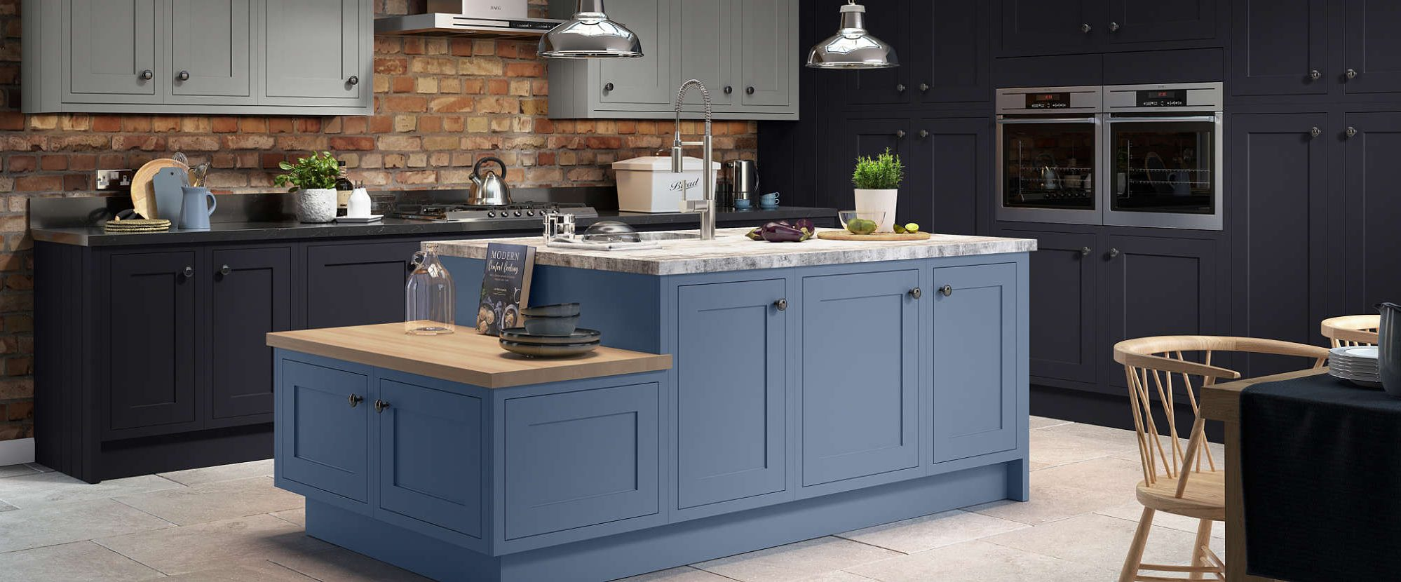 Painted Blue Kitchen