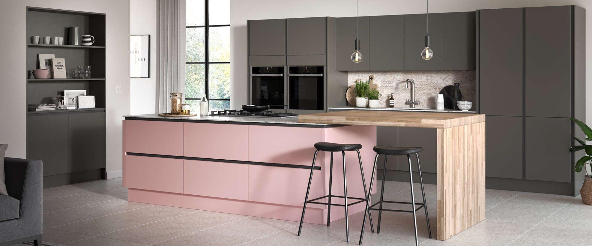 Oblique Pink Painted Kitchen