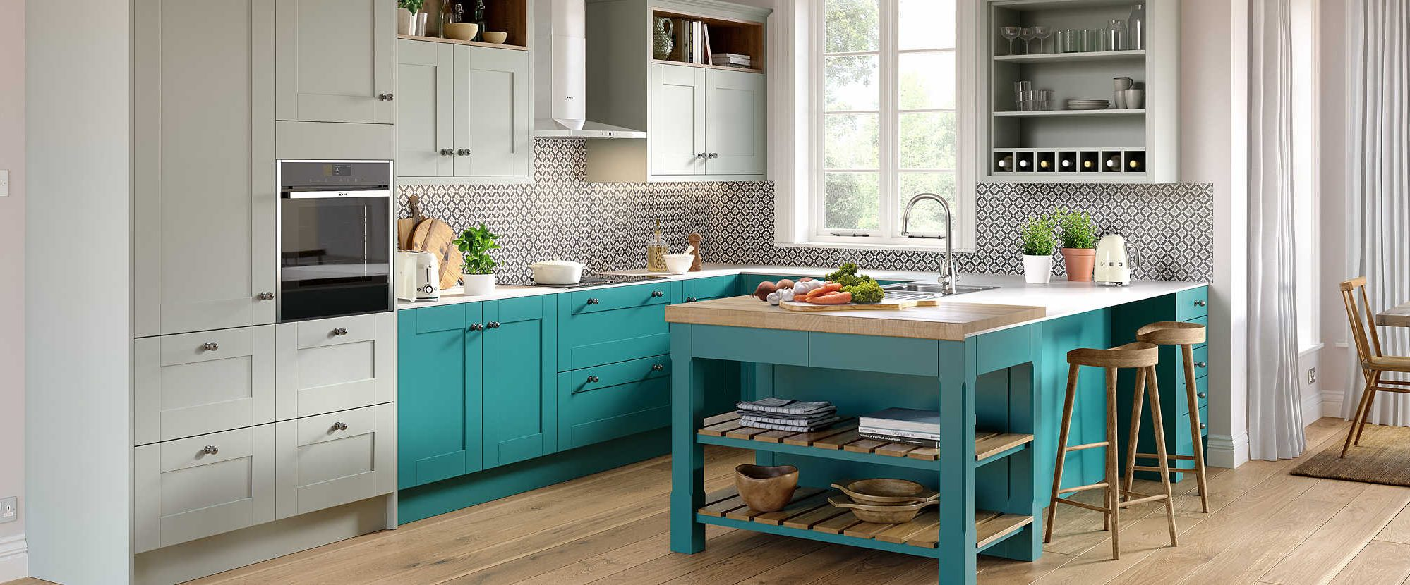New Sheraton Blue & Pink Kitchen 2019 range - Nouveau in Turquoise and blue