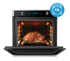 75 litre large capacity oven easily fits the largest Christmas festive turkey