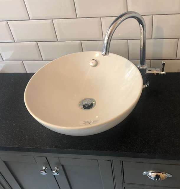 laura ashley bathroom cabinet with free standing vessel basin