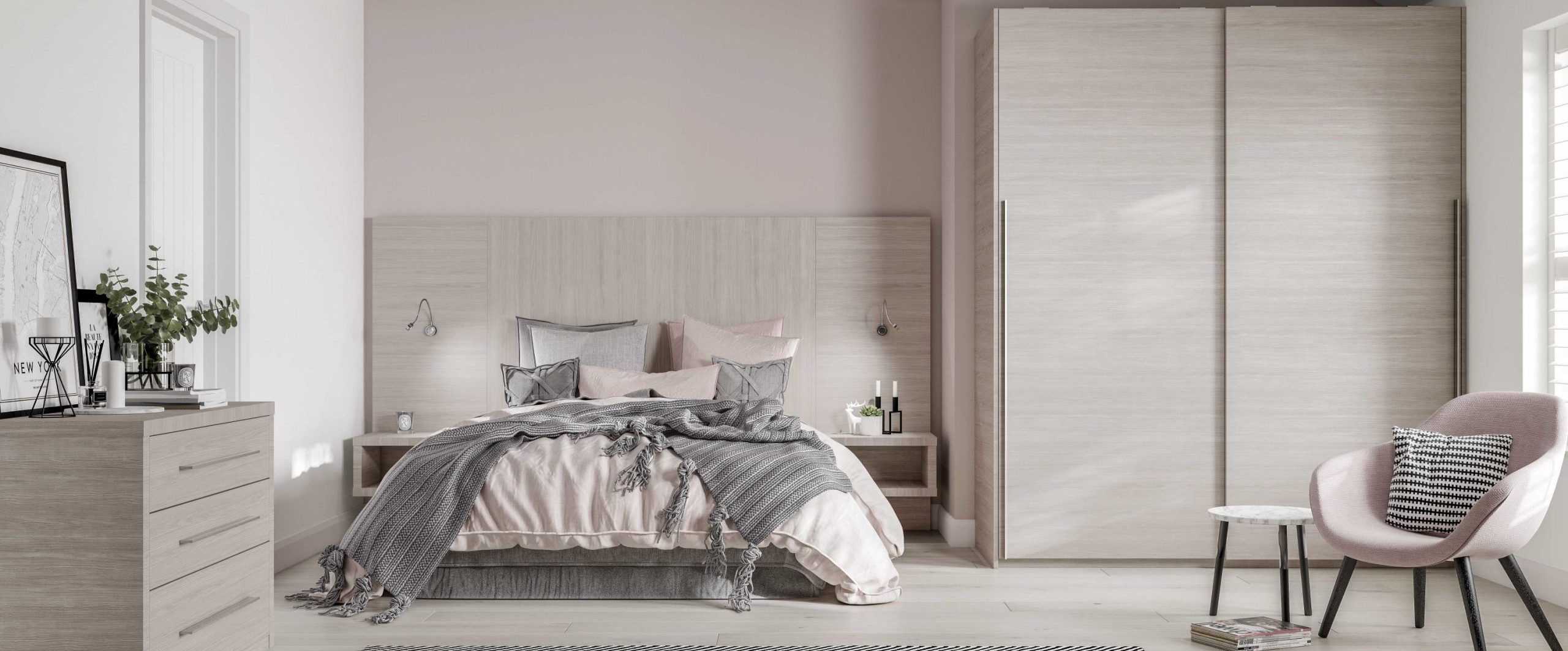 Light ash sliding wardrobe doors with matching bedhead