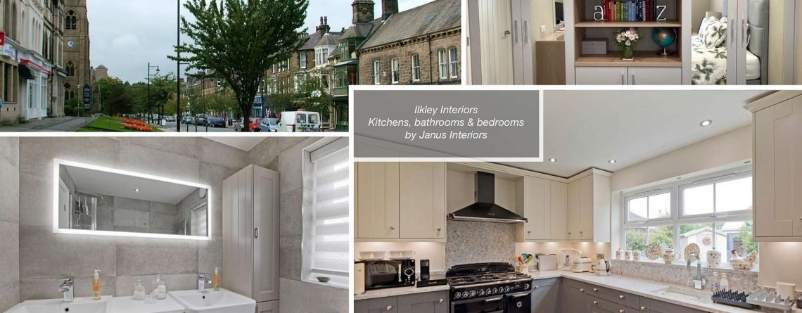 montage of ilkley town centre, ilkley kitchen, ilkley bathroom and ilkley bedroom interiors