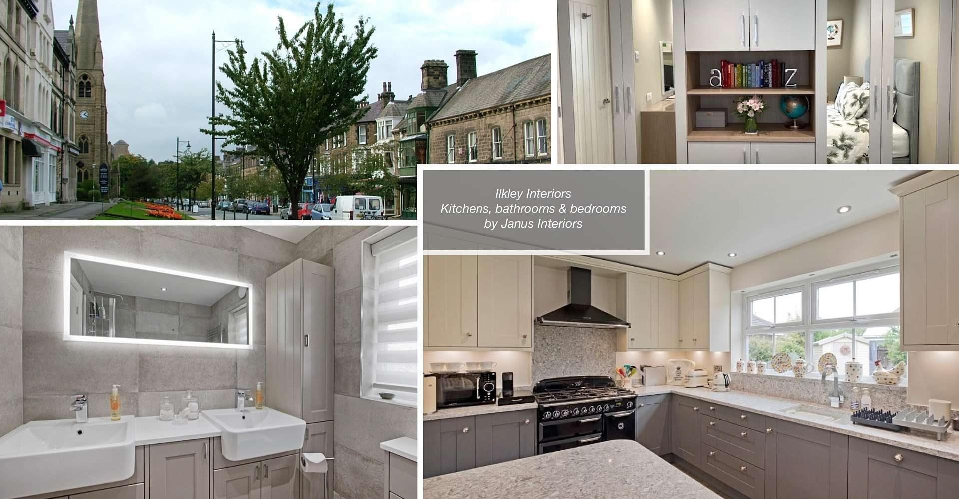 montage of ilkley town centre, ilkley kitchen, ilkley bathroom and ilkley bedroom interiors