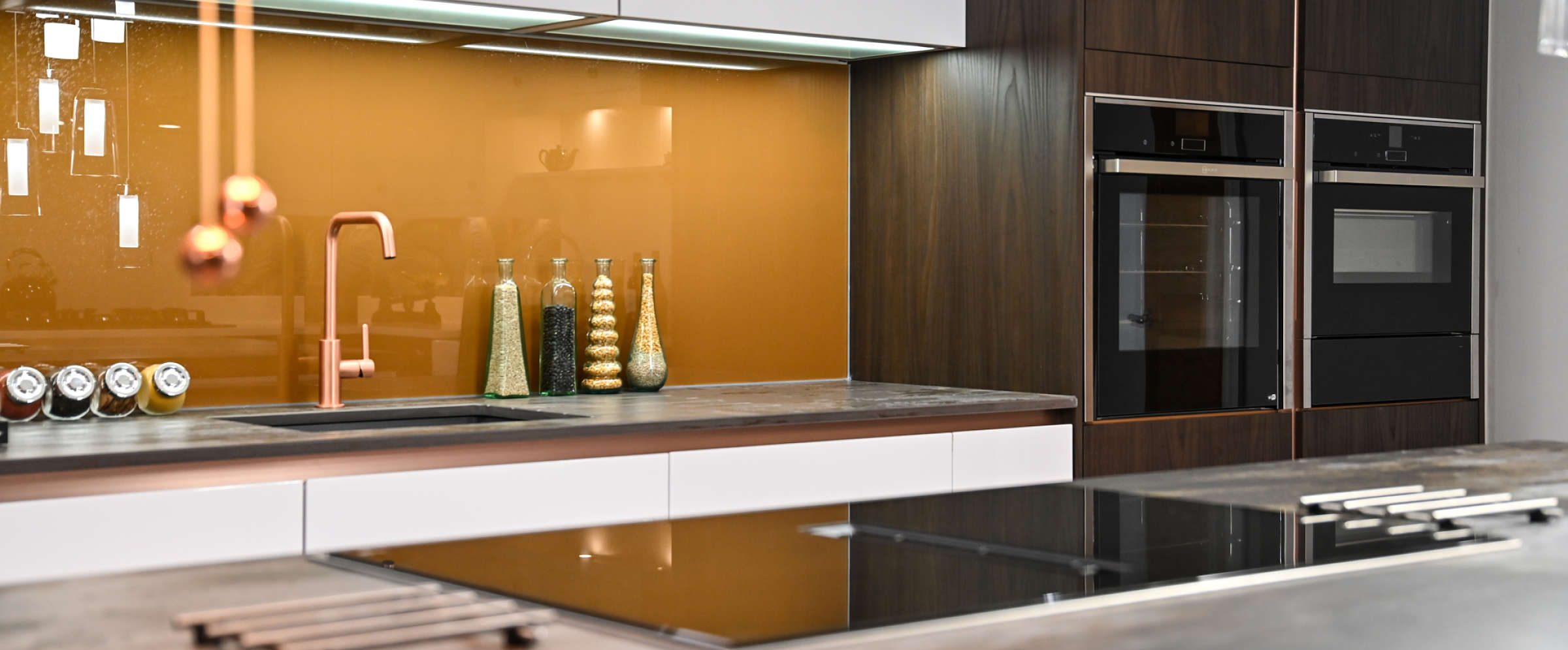 A Gallery kitchen in the Janus Interiors kitchen showroom in Bingley