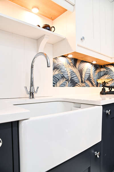 sink and tap in kitchen showroom